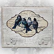 """Для дома и интерьера ручной работы. Ярмарка Мастеров - ручная работа Вешалка-ключница """"Винтажные птички"""". Handmade."""