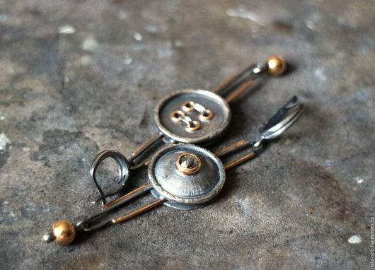 Серьги ручной работы. Ярмарка Мастеров - ручная работа. Купить BUTTONS серьги # 1 (алмаз, золото, серебро). Handmade.