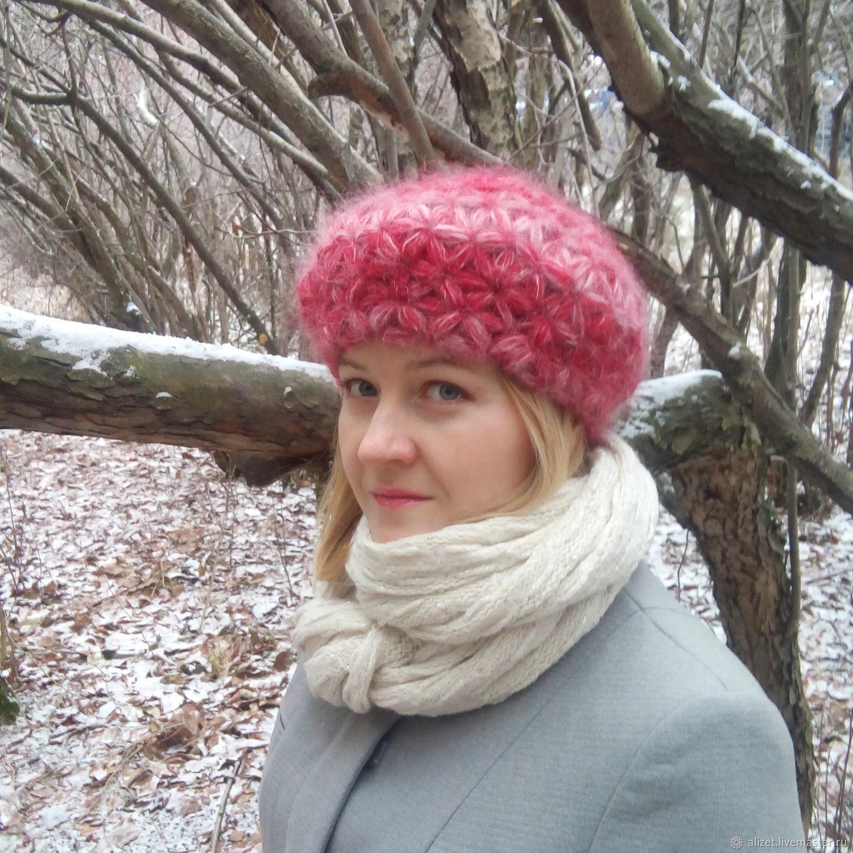 берет из кид мохера шапка женская вязаная купить в интернет
