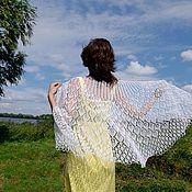 Аксессуары handmade. Livemaster - original item Openwork knitted shawl made of white linen. Handmade.