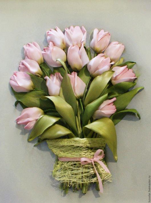 Картины цветов ручной работы. Ярмарка Мастеров - ручная работа. Купить Картина вышитая лентами Розовые тюльпаны 30 х40 см. Handmade.