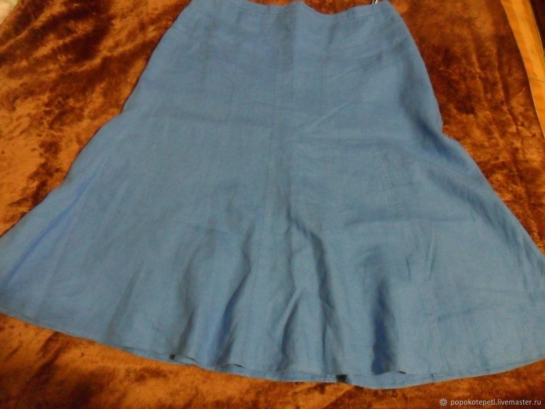 Lined skirt,100% linen,vintage Germany, Vintage clothing, Novorossiysk,  Фото №1