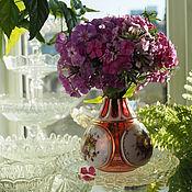 Винтаж handmade. Livemaster - original item Rare! Golden ruby vase with milk glass medallions. Handmade.