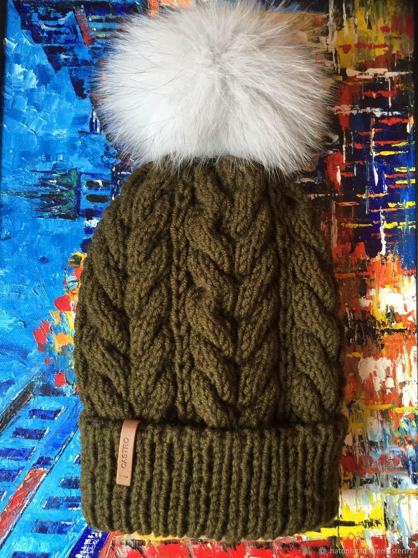 Вязаная шапка с помпоном цвета хаки, Шапки, Москва,  Фото №1