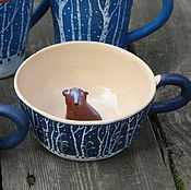 """Посуда ручной работы. Ярмарка Мастеров - ручная работа Кружки """"В берлоге"""". Handmade."""