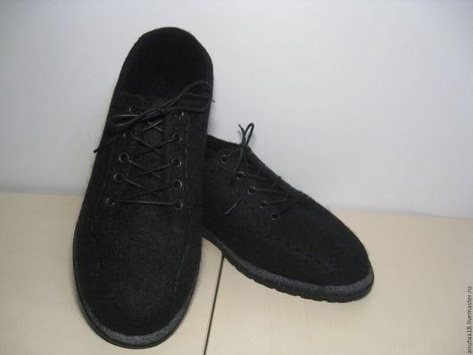Обувь ручной работы. Ярмарка Мастеров - ручная работа. Купить Туфли валяные мужские. Handmade. Черный, валенки на подошве