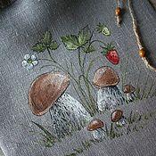 Для дома и интерьера handmade. Livemaster - original item Linen bag of dried mushrooms... Painting.. Handmade.