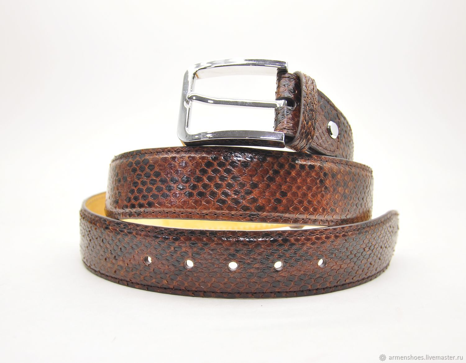 Classic Python leather belt in Burgundy color, handmade, Straps, Tosno,  Фото №1