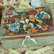 """Для дома и интерьера ручной работы. Ярмарка Мастеров - ручная работа Большая деревянная шкатулка """"Bears"""". Handmade."""