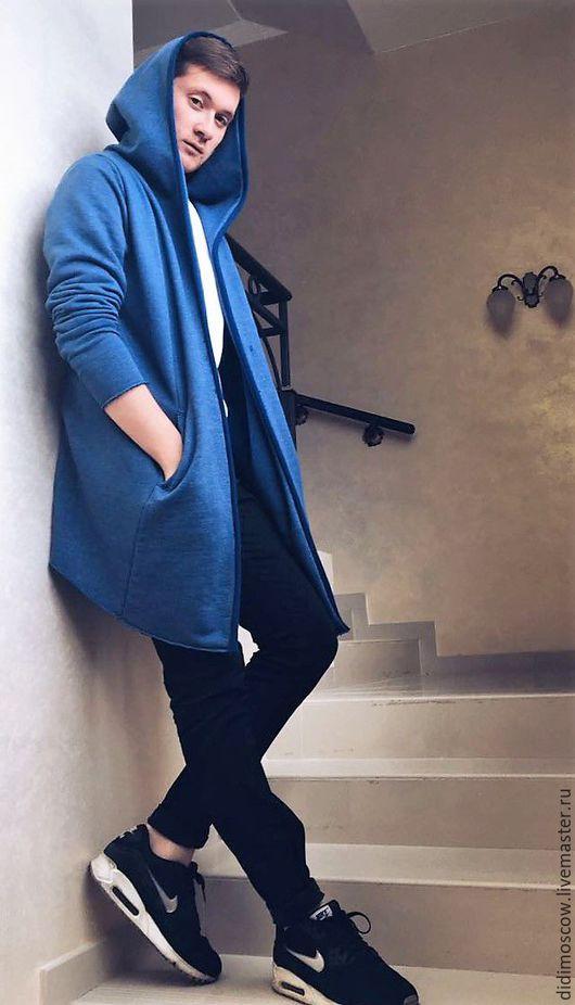 Пиджаки, жакеты ручной работы. Ярмарка Мастеров - ручная работа. Купить кардиган мужской. Handmade. Синий, кардиган мужской, трикотажный