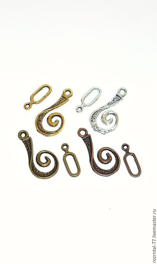 Застежка-крючок 12х26 мм для бижутерии В наличии цвет ант. золото, ант. серебро, ант. бронза и ант.медь