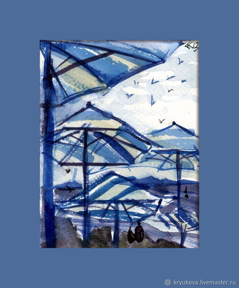 картина морской пейзаж отпуск отдых море курорт зонт зонтики зонтик чайка чайки птицы в небе океан море морской пейзаж акварель пейзаж море лето летний пейзаж акварель синяя голубая картина акваре