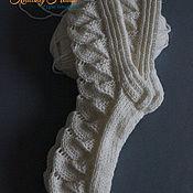Аксессуары ручной работы. Ярмарка Мастеров - ручная работа Носки женские связаны спицами полушерстяная пряжа шерсть акрил белые. Handmade.