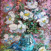 """Картины и панно handmade. Livemaster - original item Картина маслом с цветами """"Когда цветет шиповник"""". Handmade."""