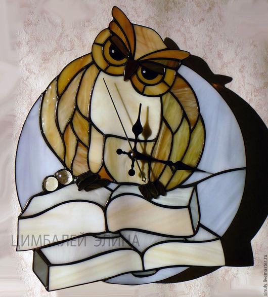 """Часы для дома ручной работы. Ярмарка Мастеров - ручная работа. Купить Витражные часы """"Сова"""". Handmade. Комбинированный, для дома и интерьера"""