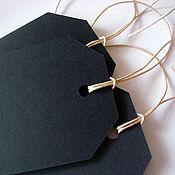 Элементы для скрапбукинга ручной работы. Ярмарка Мастеров - ручная работа Бирки (теги) черные грифельные для письма мелом 6,5х11,5 см. Handmade.