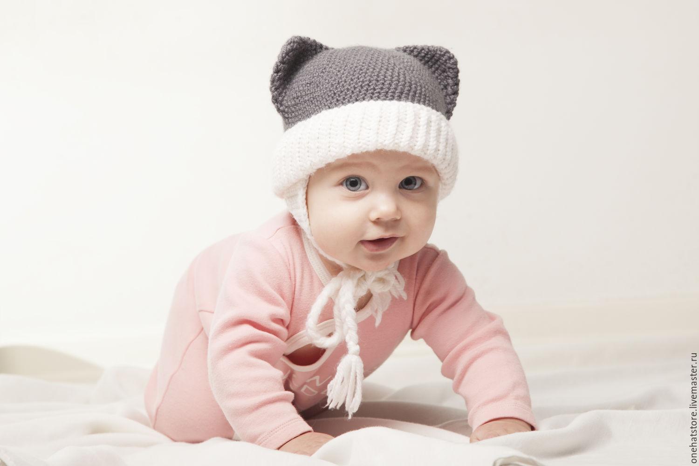 2703431bcab handmade. Livemaster - handmade. Buy Grey Cat Baby Hat with Ears