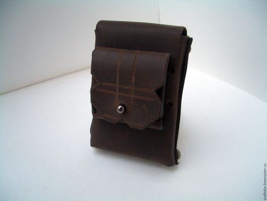 Бесшовный портсигар на 20 сигарет с застежкой на кнопке и чехол для спичек с клык- застежкой и местом для сменных чиркал- все вместе, в одном изделии, в одном удобном формате.