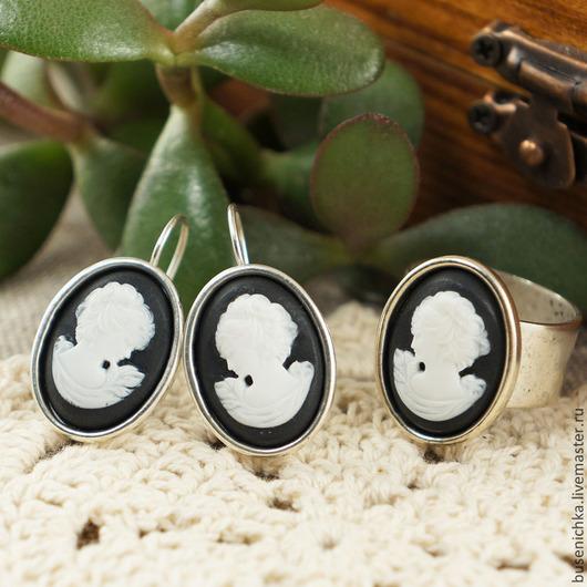 Комплекты украшений ручной работы. Ярмарка Мастеров - ручная работа. Купить Комплект из камей (серьги + кольцо) Классика. Handmade.
