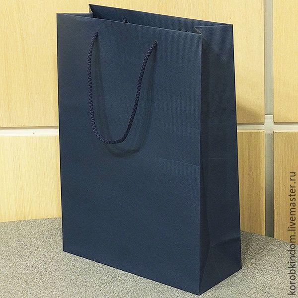 Упаковка ручной работы. Ярмарка Мастеров - ручная работа. Купить Бумажный пакет 25х35х10 синий с ручками веревочными. Handmade.