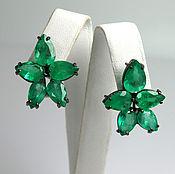 Earrings handmade. Livemaster - original item 20.0tcw Colombian Emerald Earrings 18k, Beyonce Emerald Earrings, Emer. Handmade.