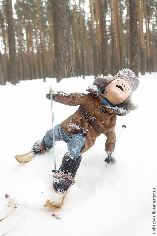 Человечки ручной работы. Ярмарка Мастеров - ручная работа. Купить мальчик на лыжах. Handmade. Кукла ручной работы, дети, шерсть