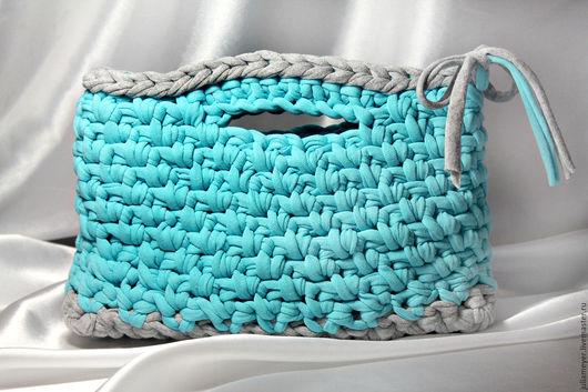 Женские сумки ручной работы. Ярмарка Мастеров - ручная работа. Купить Мини сумочка-пакетик. Handmade. Бирюзовый, мини-сумочка