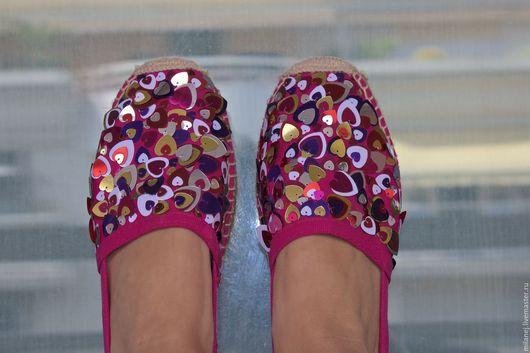 Обувь ручной работы. Ярмарка Мастеров - ручная работа. Купить эспадрильи розового цвета в пайетках, матерчатые тапочки. Handmade. Обувь