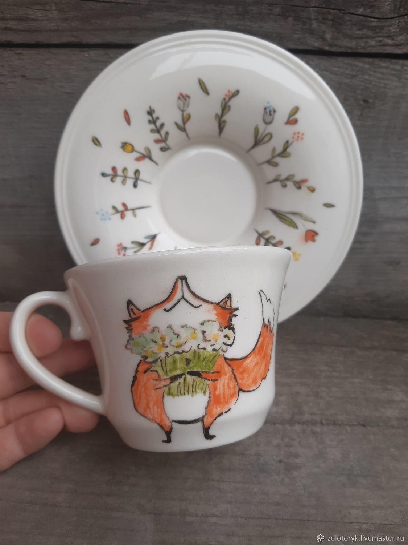 Чайная пара Довольный Лис, Детская посуда, Бобров,  Фото №1