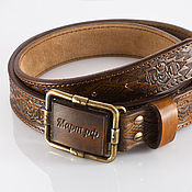 Аксессуары handmade. Livemaster - original item Leather belt with ornament.. Handmade.
