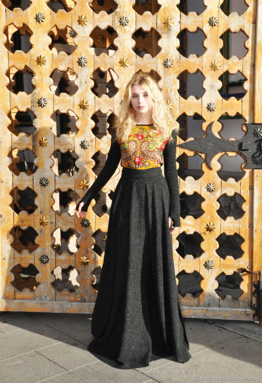 746752bfa7f Ярмарка Мастеров - ручная работа. Купить Тёплое платье в пол Чёрный Платья  ручной работы. Тёплое платье в пол Чёрный меланж с русским платком.