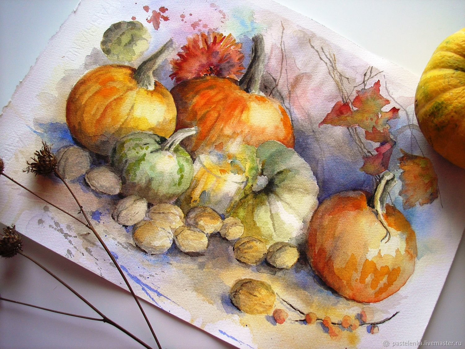Autumn gifts watercolor Painting (yellow orange pumpkin), Pictures, Yuzhno-Uralsk,  Фото №1