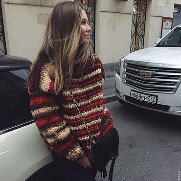 Одежда ручной работы. Ярмарка Мастеров - ручная работа Теплый женский свитер с цветным узором. Handmade.