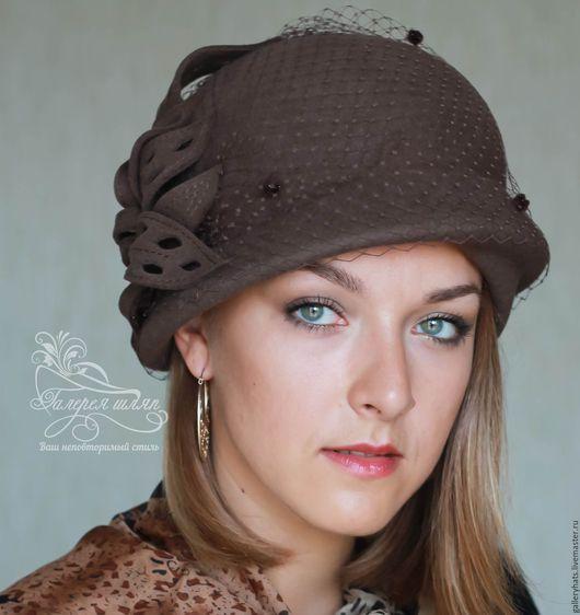 Шляпы ручной работы. Ярмарка Мастеров - ручная работа. Купить Шляпка Элис кофейного цвета. Handmade. Коричневый, однотонный, аксессуары