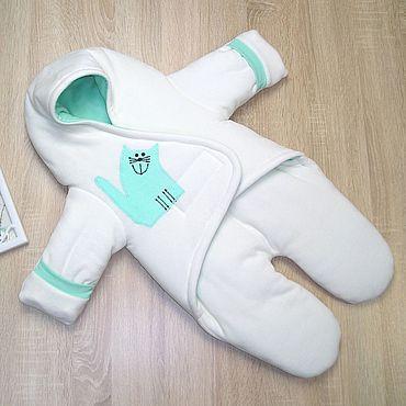 """Товары для малышей ручной работы. Ярмарка Мастеров - ручная работа Комбинезон-конверт для новорожденных """"Котик"""" Белый/Ментол. Handmade."""