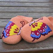 """Обувь ручной работы. Ярмарка Мастеров - ручная работа шерстянные тапочки  """"Бабочки"""". Handmade."""