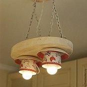 Для дома и интерьера ручной работы. Ярмарка Мастеров - ручная работа Деревянная люстра с чашками. Handmade.
