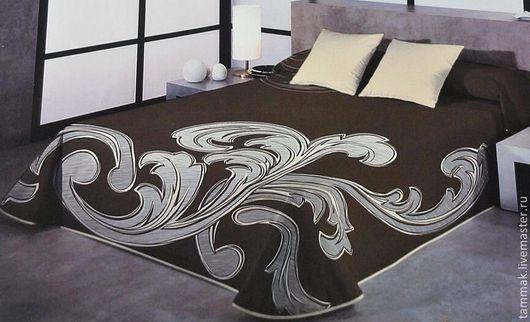 """Текстиль, ковры ручной работы. Ярмарка Мастеров - ручная работа. Купить Покрывало 2,65х2,75 двустороннее на кровать """"огурцы"""". Handmade."""