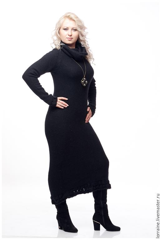 Платье женское `Ангора Марго`. Авторская коллекция 2015 года. Lorraine Woolheart.  Состав:  Ангора 100% Размер: L;XL Цвет: Черный