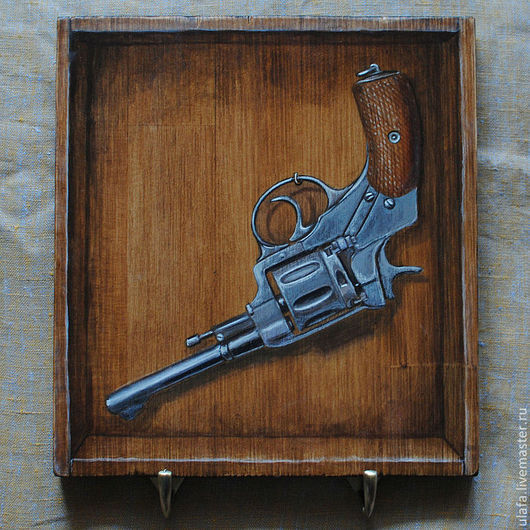 """Прихожая ручной работы. Ярмарка Мастеров - ручная работа. Купить Вешалка-ключница-обманка """"Наган"""". Handmade. Вешалка, пистолет, для мужчин"""