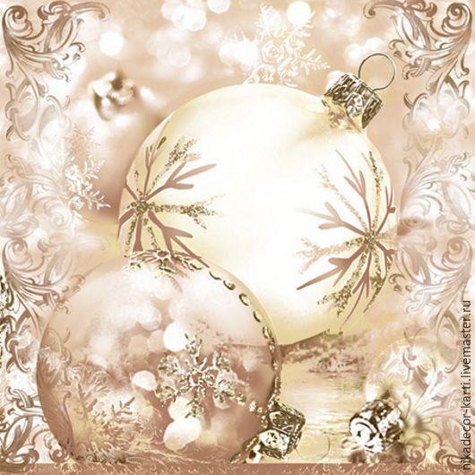 Декупаж и роспись ручной работы. Ярмарка Мастеров - ручная работа. Купить Новогодние шары жемч. (SLGW008702) - салфетка для декупажа (G). Handmade.