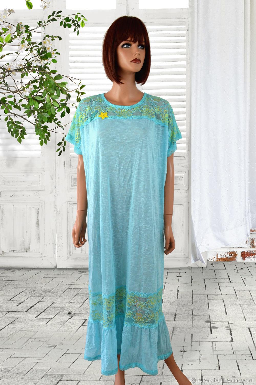 Summer light tunic of knitwear and lace blue long, Tunics, Mulhouse, Фото №1