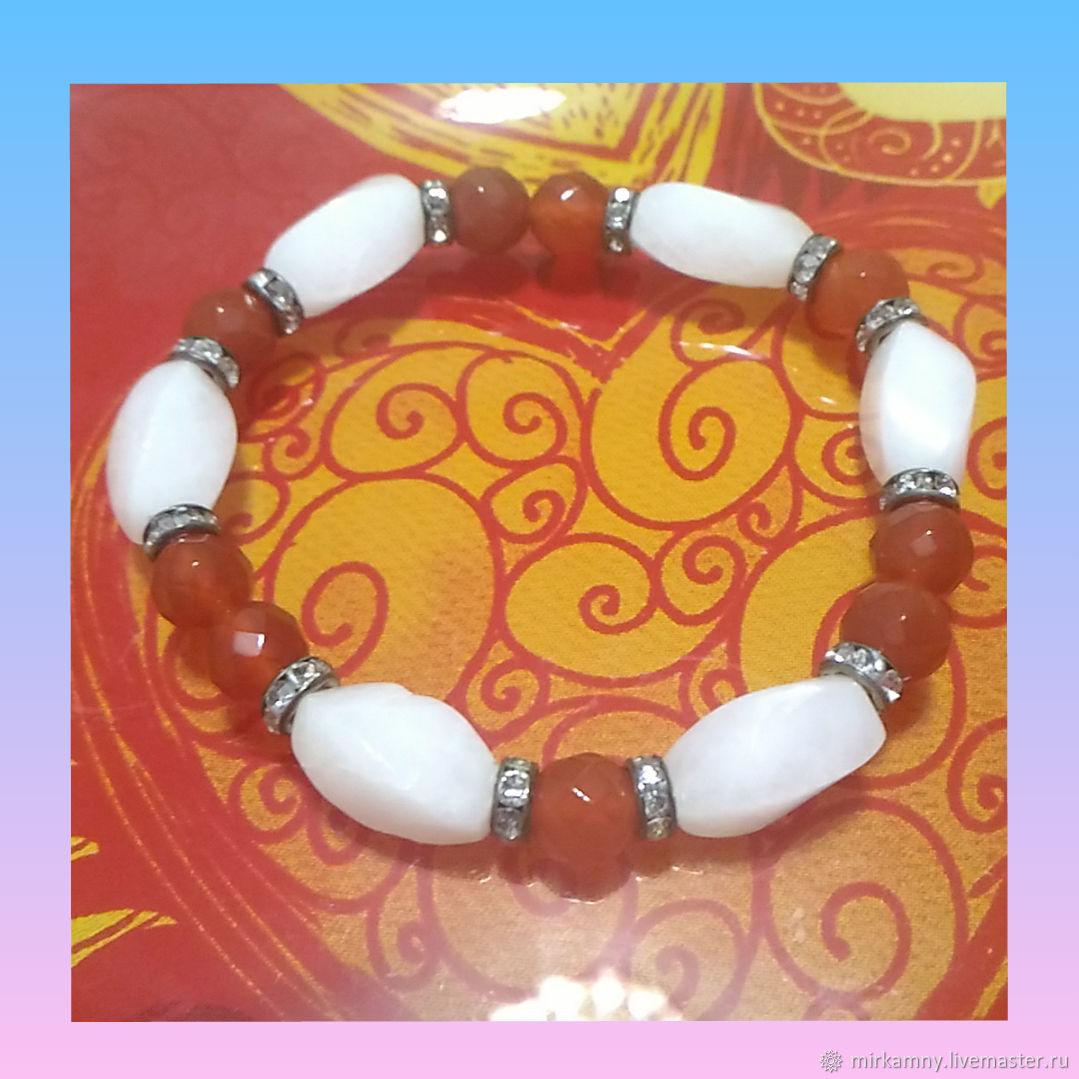 Bracelet with carnelian and quartz, Bead bracelet, Sasovo,  Фото №1