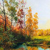 Картины и панно handmade. Livemaster - original item Oil painting landscape Autumn ligularias Chernov. Handmade.