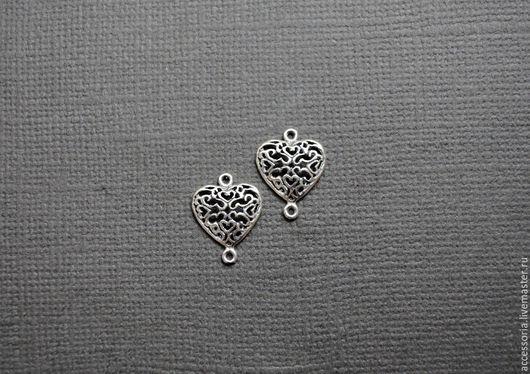 Серебро 925пр. Коннектор Сердце Ажурное 15х11.5 мм