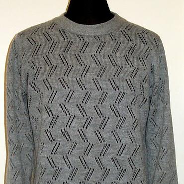 Одежда ручной работы. Ярмарка Мастеров - ручная работа Свитер ажурный серый. Handmade.