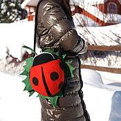 Сумки и аксессуары ручной работы. Ярмарка Мастеров - ручная работа Авторская валяна сумка - рюкзак Божья коровка. Handmade.
