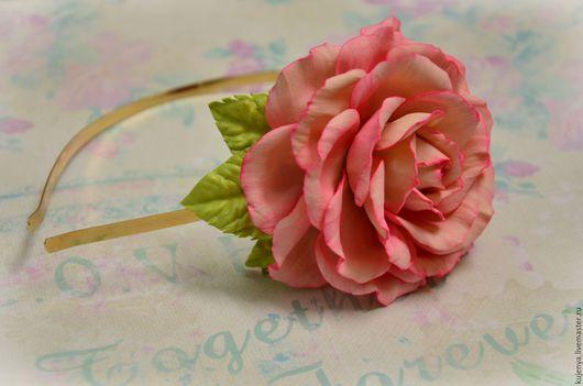 """Диадемы, обручи ручной работы. Ярмарка Мастеров - ручная работа. Купить Ободок для волос с розой """"Нежность"""". Handmade. Розовый, роза"""