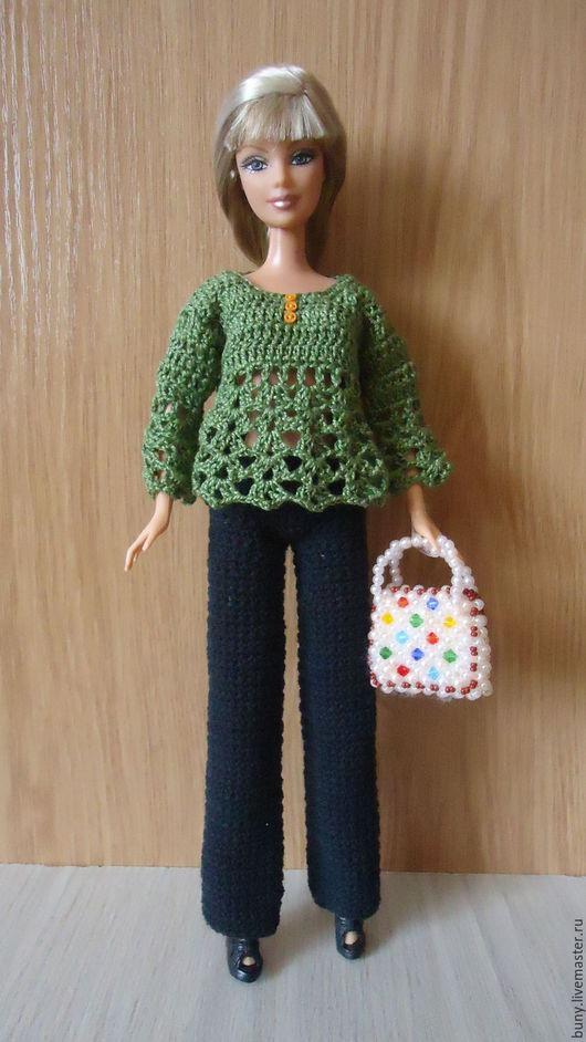 Одежда для кукол ручной работы. Ярмарка Мастеров - ручная работа. Купить Зеленая ажурная кофточка. Handmade. Зеленый, кукольная одежда