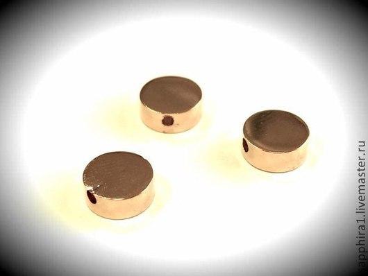Для украшений ручной работы. Ярмарка Мастеров - ручная работа. Купить Бусина Шайба 8 мм позолоченная. Handmade. Золотой